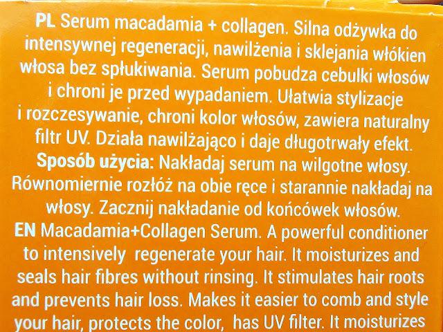 Bioelixire, Macadamia Oil + Collagen - Serum do włosów, etykieta
