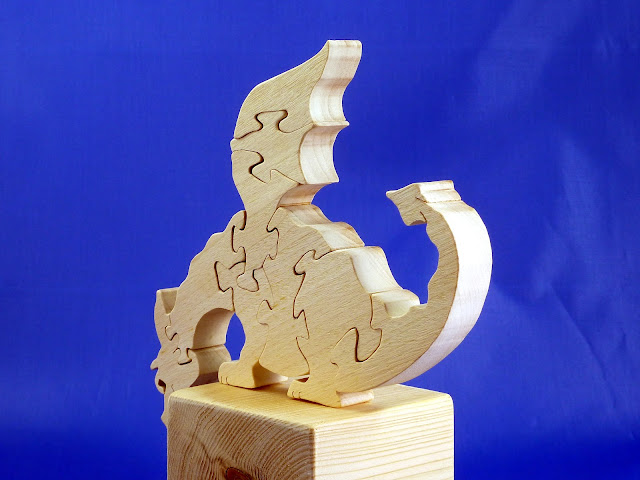Left Rear - Wooden Toy Puzzle - Dragon - Poplar - Unfinished - 7.5x6 Inches