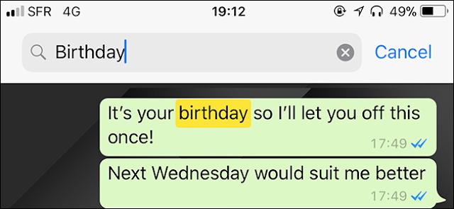 طريقة البحث عن محادثة معينة في تطبيق الواتس آب