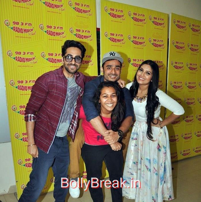 Ayushmann Khurrana, RJ Abhimanyu, RJ Prerna, Bhumi Pednekar, Hot HD Pics Of Bhumi Pednekar At 'Dum Laga Ke Haisha' Promotions at Radio Mirchi
