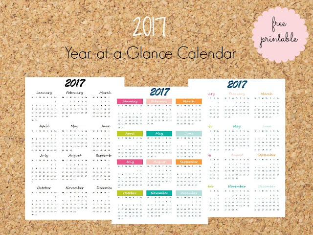 2017 Year in a Page free printable calendar - 3 designs to choose (english & greek) - Ioanna's Notebook