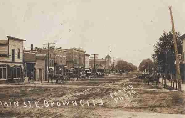 Climbing My Family Tree: Postcard of Brown City MI  Main Street East in 1906