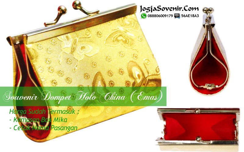 Souvenir dompet pernikahan emas