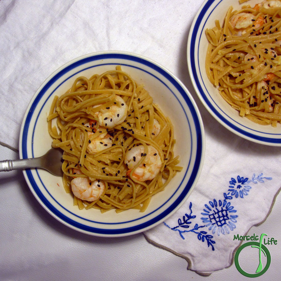 Morsels of Life - Ginger Lime Shrimp - A quick and easy shrimp pasta seasoned with lime, ginger, and sesame.