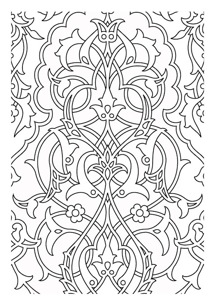Free Coloring Page Coloringpatternsmedievaux Medieval Tapestry Pattern  Which Can Serve As An Inspiration Or For Simple Coloring