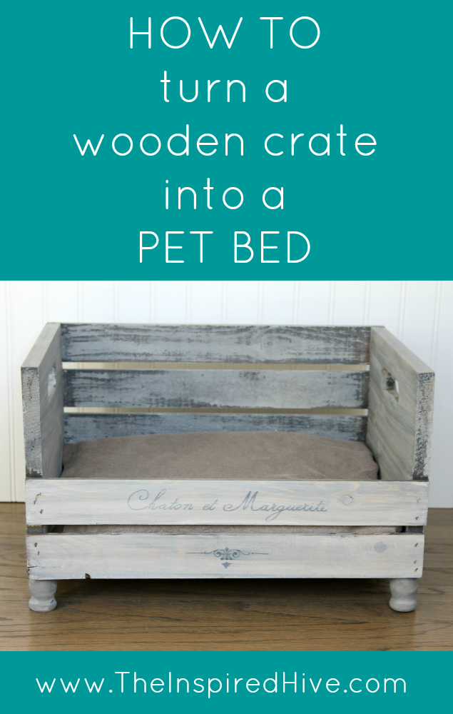 How to turn a wooden crate into a DIY pet bed.