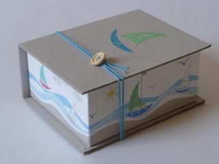 χειροποίητο κουτί μαρτυρικών με θαλασσινό μοτίβο