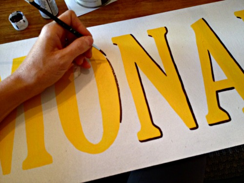 handpainting shadow onto letters