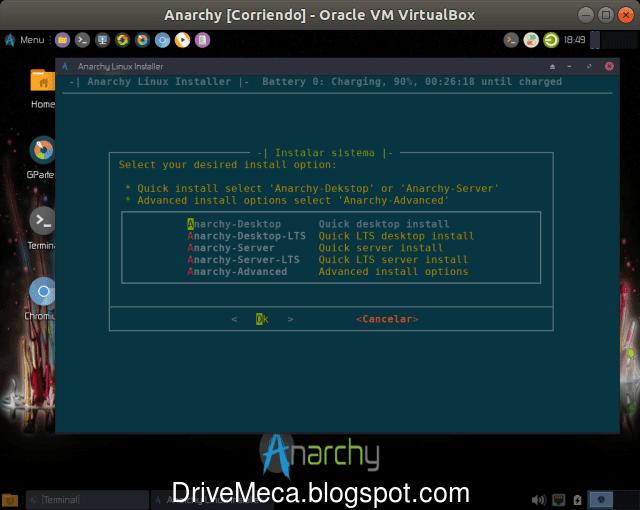Quieres Anarchy Linux para desktop o servidor?