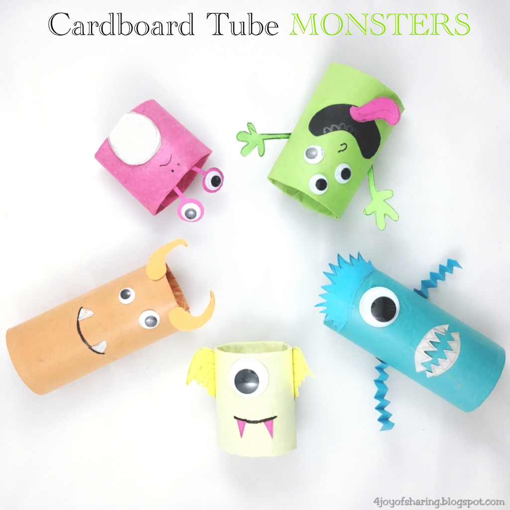 The joy of sharing cardboard tube monsters halloween craft for Tissue tube crafts