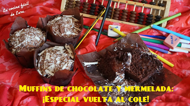 Muffins de chocolate y mermelada-