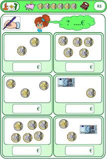 Jeu sur la monnaie à imprimer à 2 chiffres