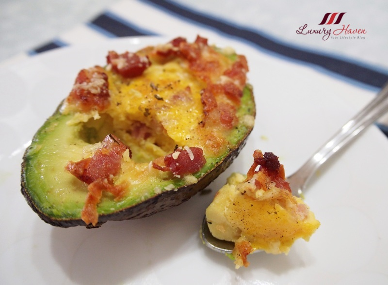 mozzarella cheese scrambled eggs in avocado recipe