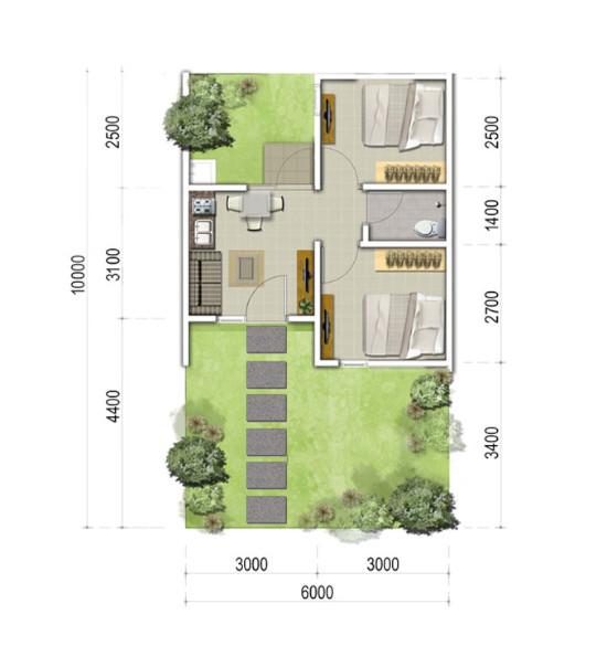 Denah rumah minimalis ukuran 6x10 meter 2 kamar tidur 1 ...