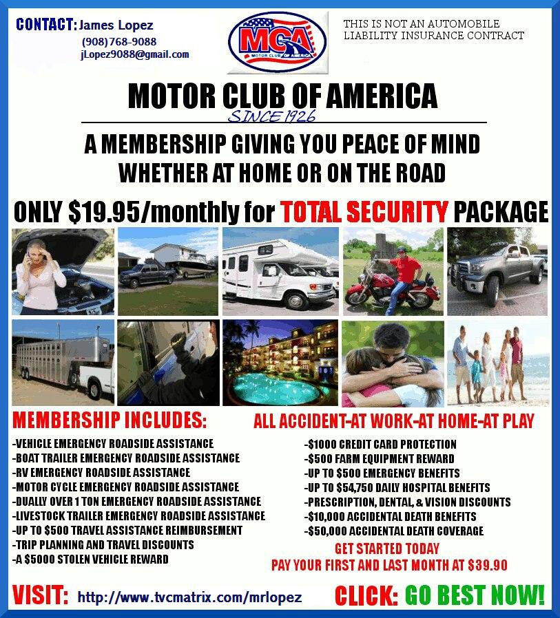 Work for mca motor club of america for Mca motor club of america scam