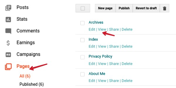 click on page and then view and copy page link address