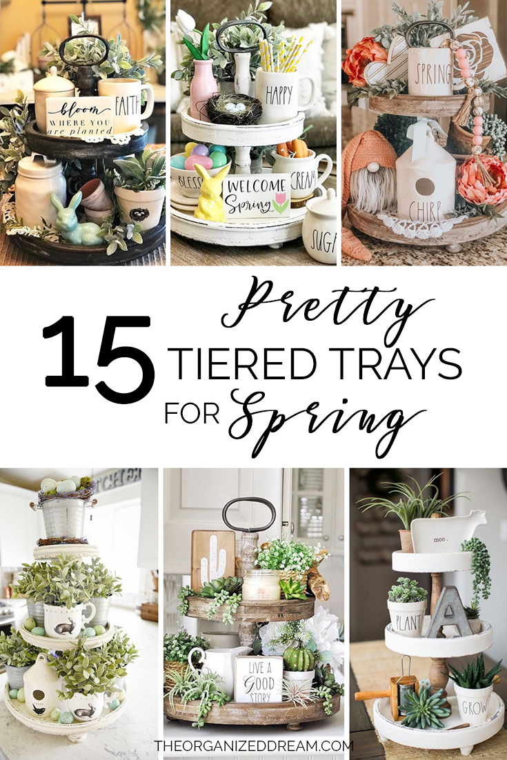 Fifteen examples of pretty tiered trays styled for Spring.