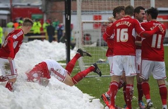Swindon player's 'snowy' goal celebration