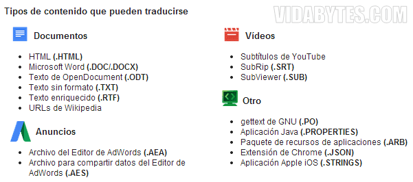 Formatos soportados Translator Toolkit