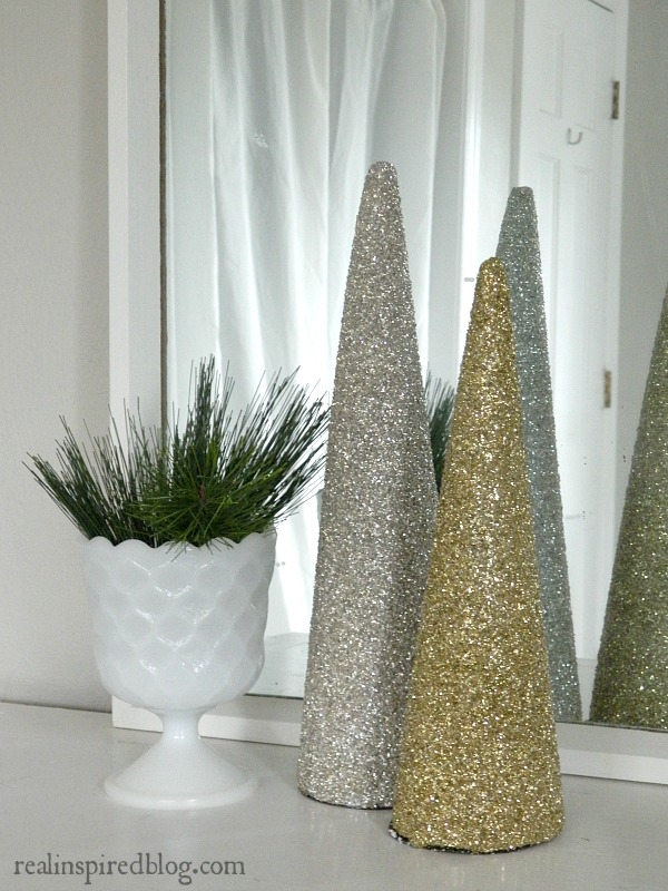 Rustic Glam Green and Neutral Christmas Home Tour 2015: Greenery and glittery Christmas trees