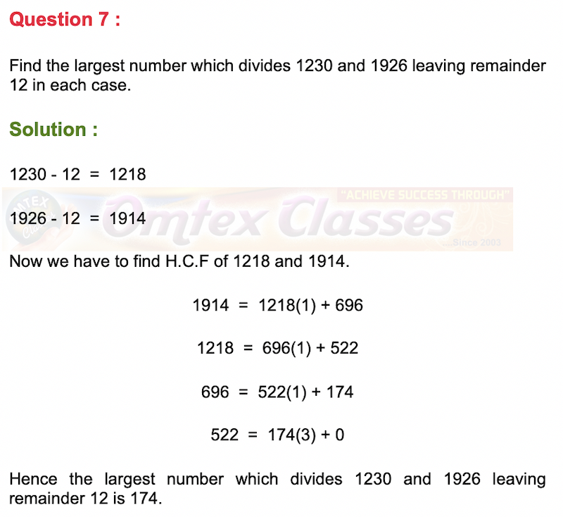 Find the largest number which divides 1230 and 1926 leaving remainder 12 in each case.