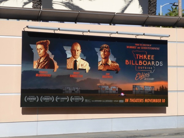 Three Billboards Outside Ebbing Missouri movie billboard