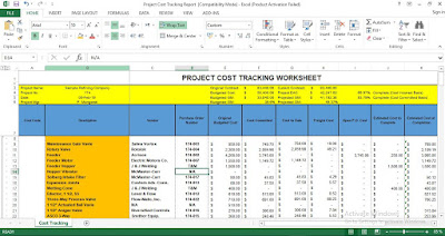 Project Cost Tracking Excel Template free
