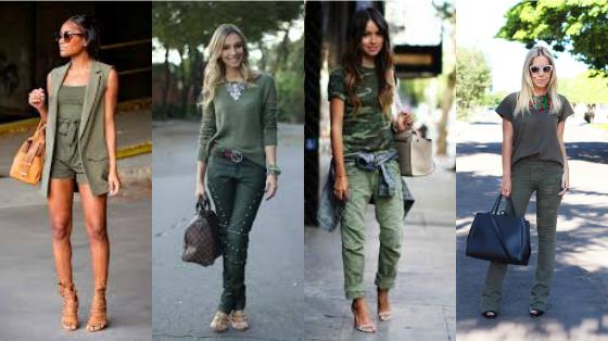 looks monoromaticos verde militar