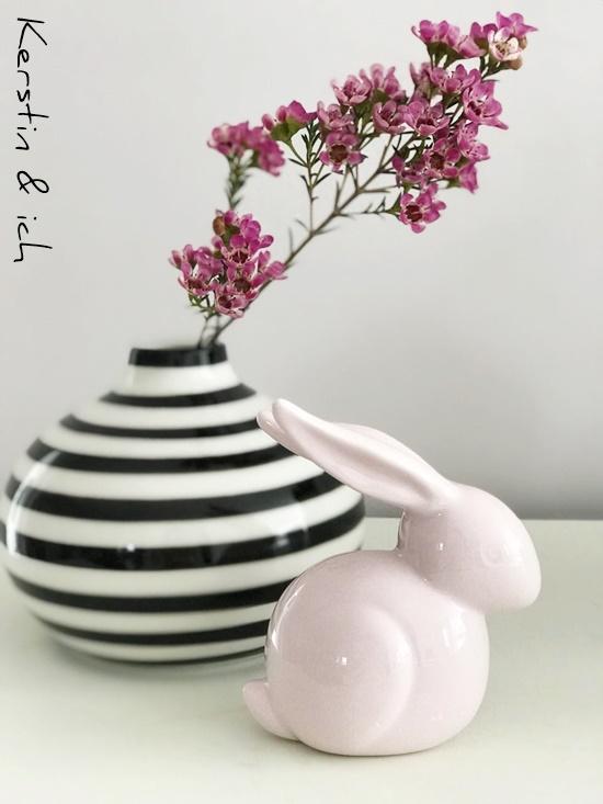 schwarz weiß Vase Deko Wohnen Hase