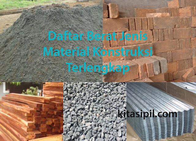 cara menghitung hasil perhitungan berat jenis material konstruksi bahan bangunan terlengkap