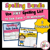 Spelling Bundle Pack of Task Cards and Worksheets