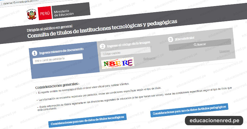 MINEDU: Consulta de Títulos de Instituciones Tecnológicas y Pedagógicas [ONLINE] www.minedu.gob.pe