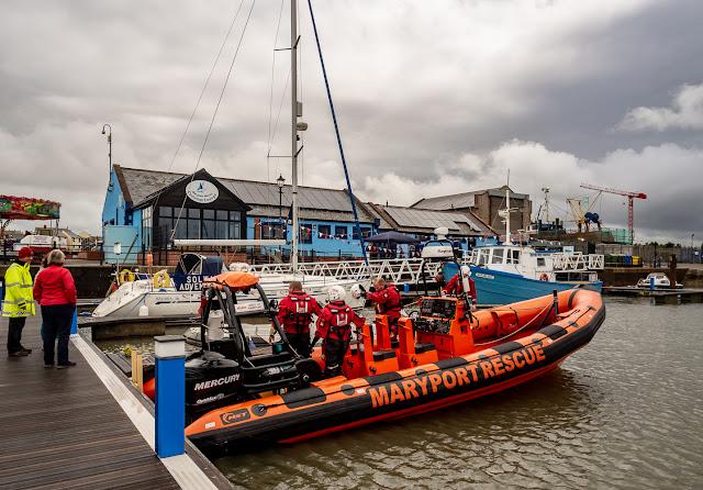 Photo of Maryport Inshore Rescue volunteers at Maryport Marina