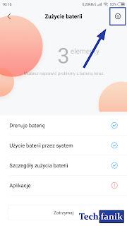 Xiaomi MIUI 10 Aplikacja Panel Sterowania Bateria Ustawienia