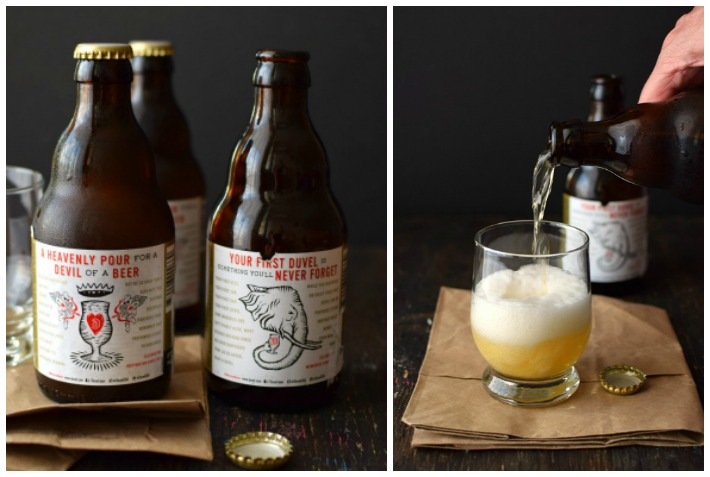 Cerveza belga Duvel, el empaque tiene las instrucciones de cómo servirla y hasta indican qué tipo de copa usar para tomar