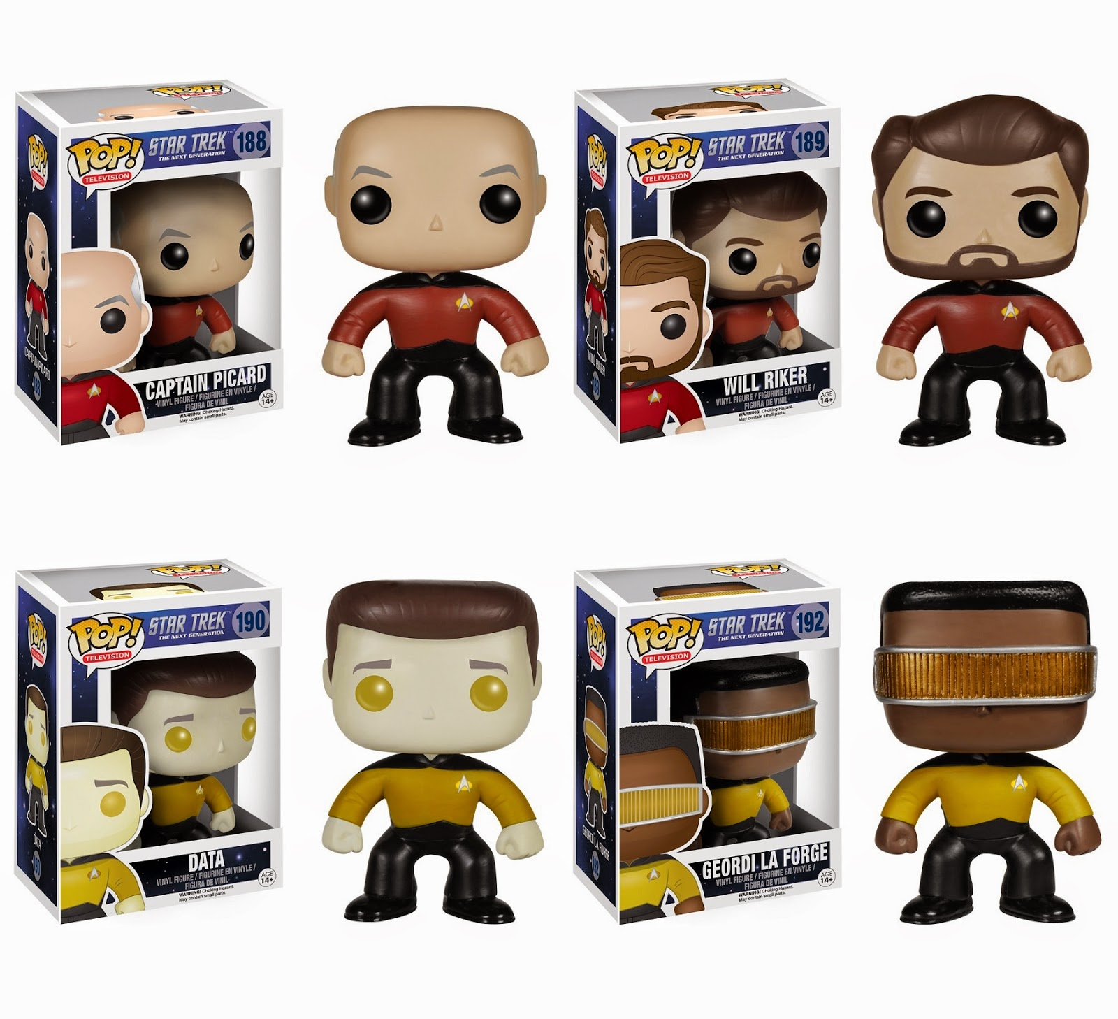 Star Trek: The Next Generation Pop! Television Vinyl Figures by Funko - Captain Jean-Luc Picard, Will Riker, Data & Geordi La Forge