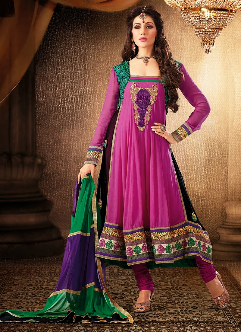 Latest Anarkali Designs With Churidar Pajama 2014