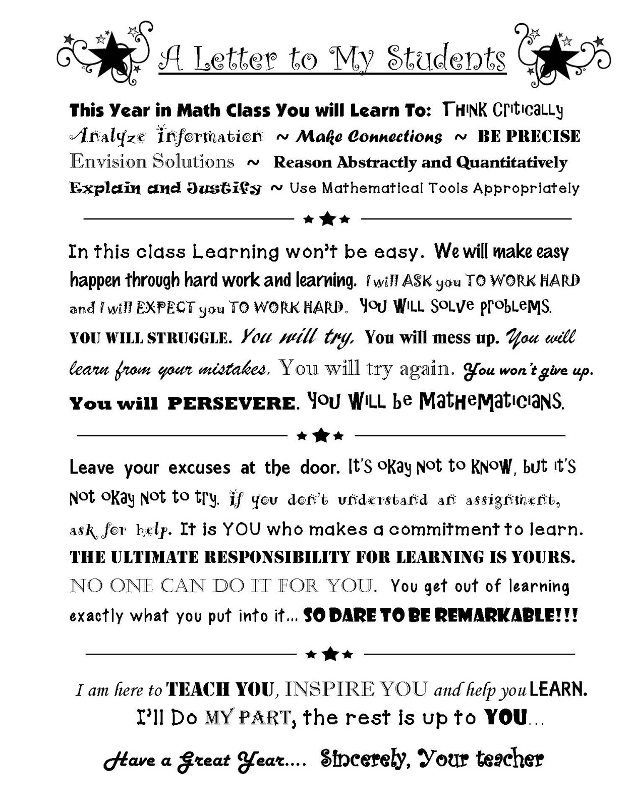 Teacher Letter To Students At End Of Year