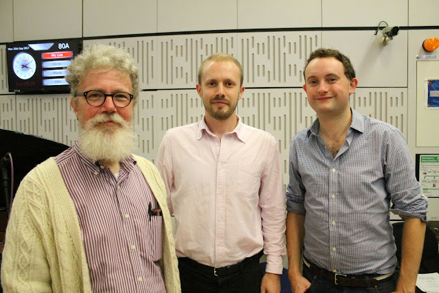 Robert Hugill, Johnny Herford, William Vann on BBC Radio 3's In Tune on Monday 25 September (photo BBC)