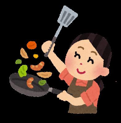 料理をするお母さんのイラスト