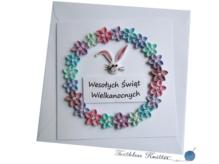 Easter Card with Flower Wreath and Bunny / Kartka Wielkanocna z Wieńcem Kwiatowym i Zajączkiem