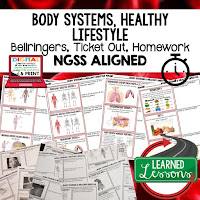 Body Systems, LIFE SCIENCE Warm Ups & Bell Ringers, LIFE SCIENCE Use Ticket Out, Homework NGSS 6-8 Science, Print and Digital