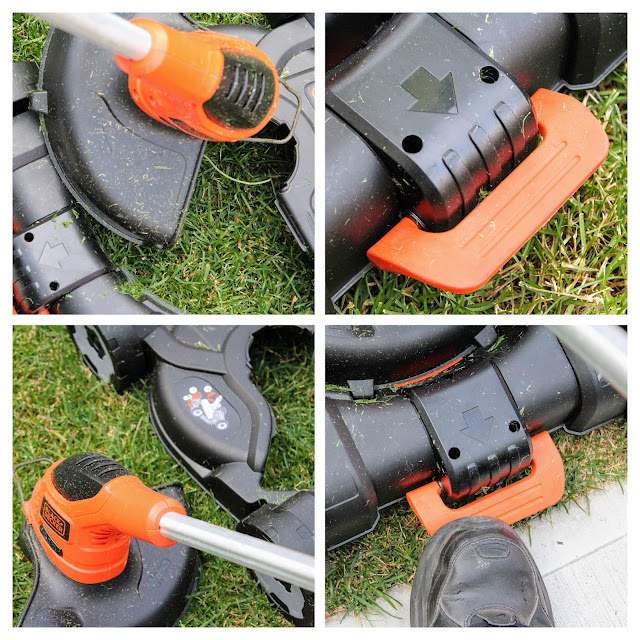 Black & Decker 3 in 1 Cordless Mower - A four collage photo of the detachable trimmer, debris shield and detachable mower deck.
