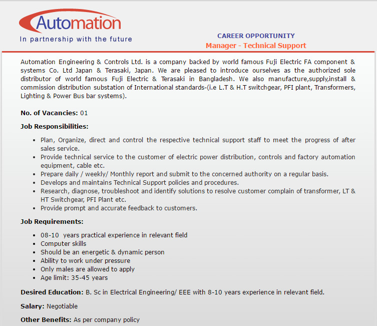 Automation Engineering & Controls Limited - Manager - Technical ...