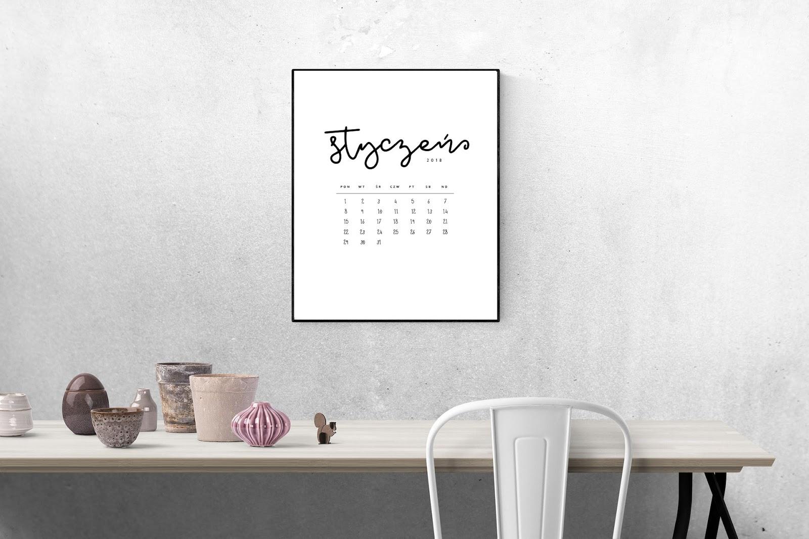 Minimalistyczny kalendarz 2018 do druku {do pobrania za darmo}