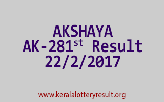 AKSHAYA Lottery AK 281 Results 22-2-2017