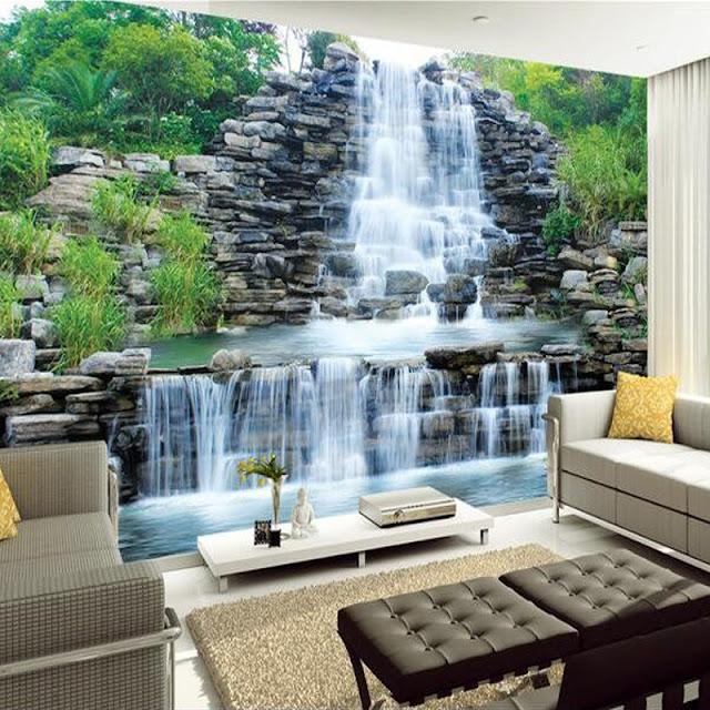 natur tapet vattenfall fototapet vardagsrum 3d