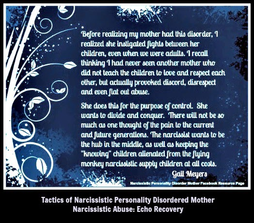 Narcissistic Mothers Divide and Conquer the Children quote by Gail Meyers