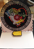 Happy birthday Heart and butterfly 8 inch easel card - inside