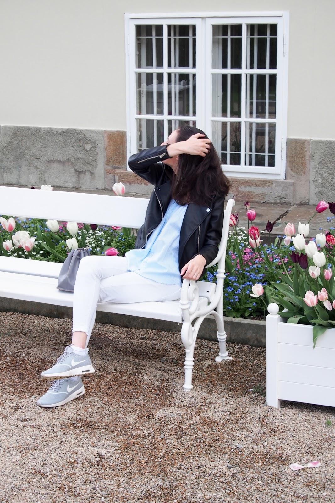 f8177582b bunda - Mohito | košile - sekáč + Hubert | kalhoty - Mango | boty - Nike |  kabelka - Aliexpress